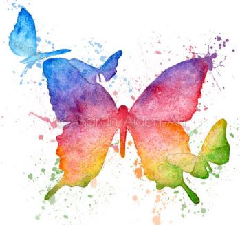 rainbow butterfly watercolor