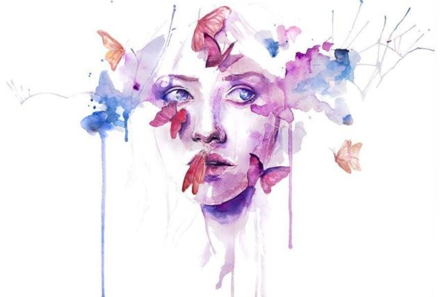 watercolor woman with butterflies